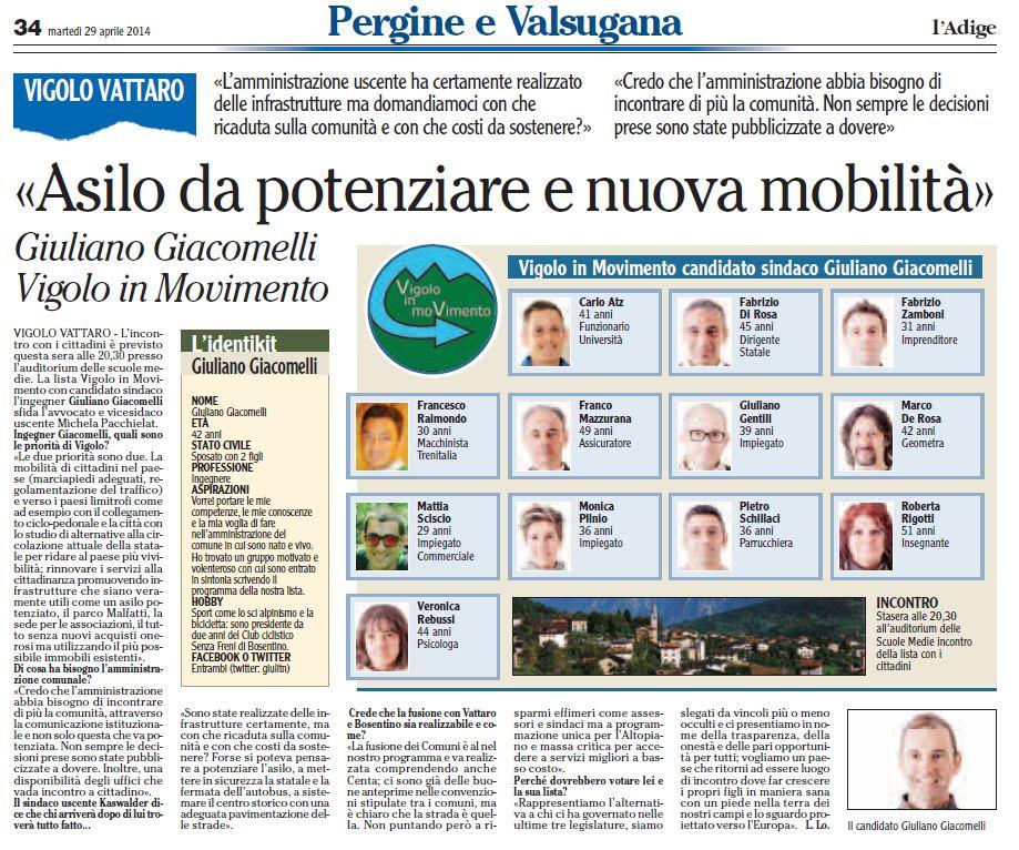 Rassegna Stampa L'Adige 29 aprile 2014