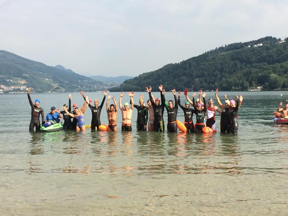 Partenza traversata a nuoto del lago di Caldonazzo