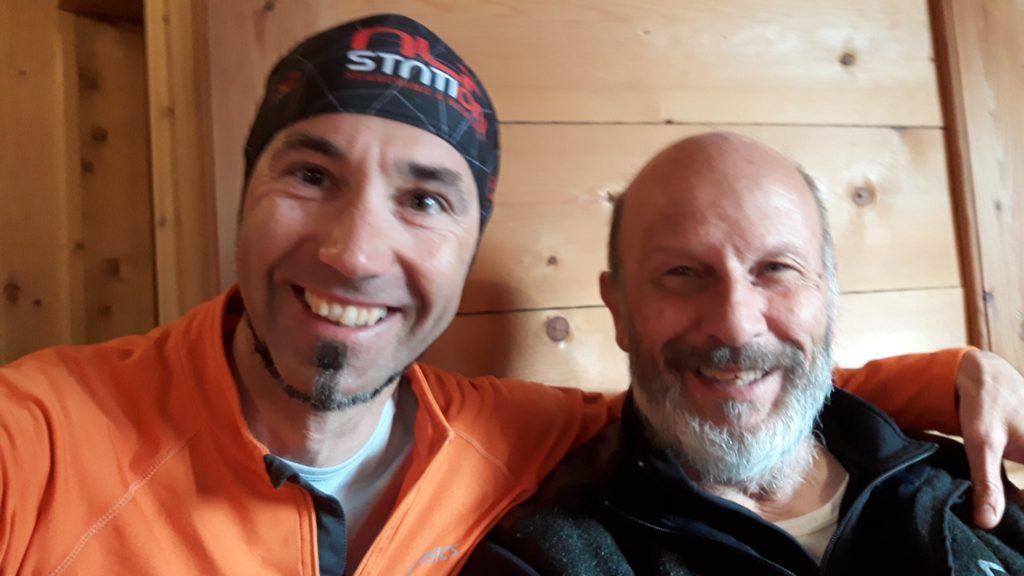 Con Sergio Rosi, mitica guida alpina autore della Guida di scialpinismo del Brenta